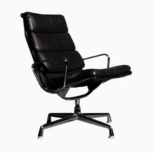 Soft Pad Black EA 216 Armchair by Charles and Ray Eames for Herman Miller, 1960s