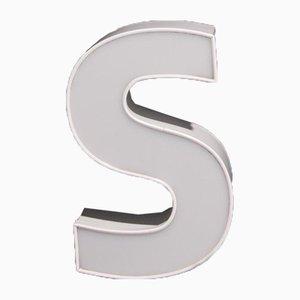 Weißer Werbeschild Buchstabe S