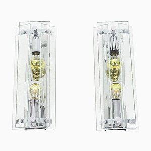 Glass and Chrome-Plated Metal Sconces, 1970s, Set of 2