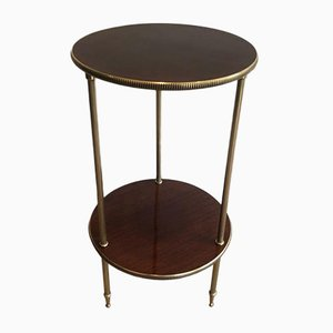 French Round Mahogany and Brass Side Table, 1950s