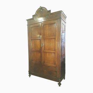Italienischer Schrank mit 2 Türen aus Nussholz, 1800er