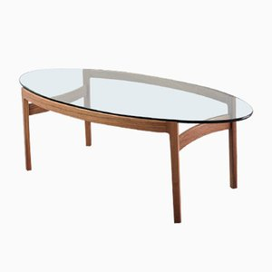 Vintage German Elliptical Rosewood Coffee Table by Ib Kofod Larsen for Fröscher, 1970s