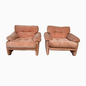 Mid-Century Italian Flamingo Pink Velvet Coronado Lounge Chairs by Tobia Scarpa for B&B Italia / C&B Italia, 1960s, Set of 2