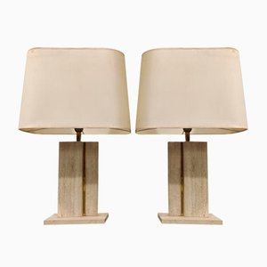 Lampes de Bureau en Travertine et en Laiton, 1970s, Set de 2