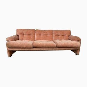 Mid-Century Italian Flamingo Pink Velvet 3-Seater Sofa by Tobia Scarpa for B&B, 1960s
