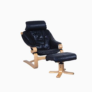 Danish Black Leather Easy Chair with Ottoman