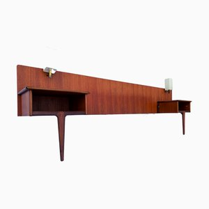 Mid-Century Teak and Afromosia Headboard, Nightstands, and Lamps from A. Younger Ltd., 1960s