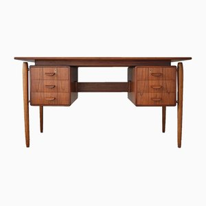 Mid-Century Danish Teak and Oak Executive Desk, 1960s