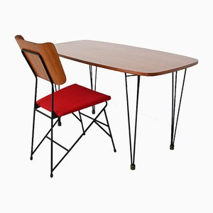 Italian Desk and Chair Set by Carlo Ratti for Legni Curva, 1950s