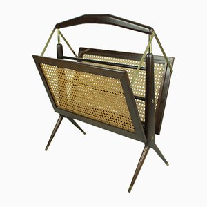 Mid-Century Wicker Magazine Rack, 1960s