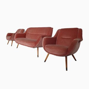Mid-Century French Organic Mohair Sofa and Lounge Chairs Set, 1960s, Set of 3
