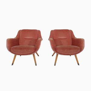 Mid-Century French Organic Mohair Lounge Chairs, 1960s, Set of 2