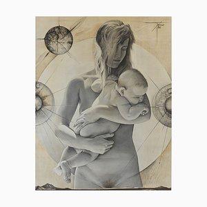 Large La Jeune Femme a L'Enfant Lithograph by Pierre-Yves Trémois for Draeger, 1960s