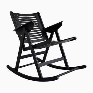 Rocking Chair Pliante Rex Mid-Century Noire en Palissandre par Niko Kralj