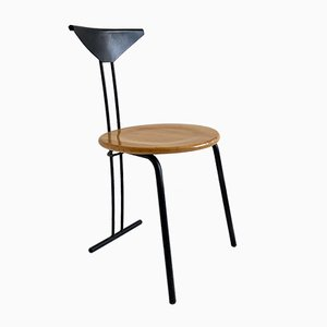Postmodern Beech and Steel Dining Chair