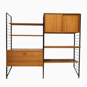 Mid-Century Teak Shelving Desk Vinyl Wall Unit from Ladderax