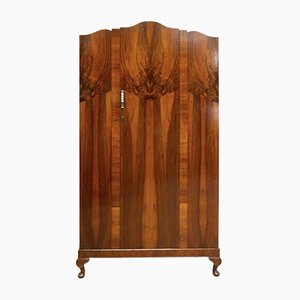 Vintage Art Deco Burr Walnut Wardrobe Armoire