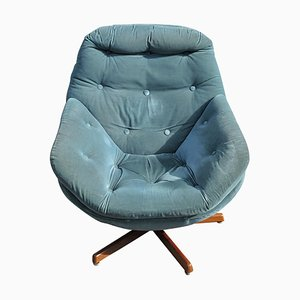 Vintage Teal Swivel Upholstered Egg Chair, 1960s