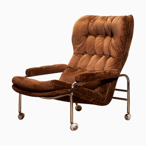 Chrome and Brown Velour Fabric Lounge Chair from Sapa, Sweden, 1970s