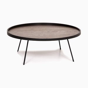 Anthracite Brown Oak Veneer and Metal Canna Coffee Table from Leolux