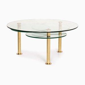 Table Basse Ajustable en Verre et Or de Ronald Schmitt