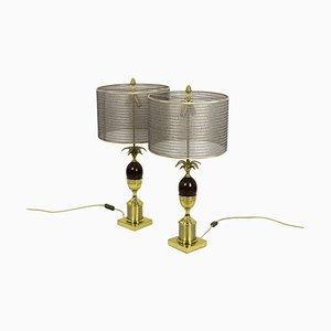 Lampen aus Eschenholz in Bakelit und vergoldeter Bronze, 1970er, 2er Set