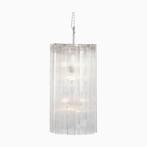 Large Ice Glass Pendant Lamp from Doria Leuchten, Germany, 1970s