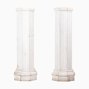 Vintage Italian Oak Pedestals, Set of 2