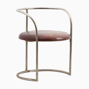 Steel Tube and Leather Chair by Eskil Sundahl, Sweden, 1930s