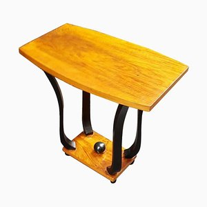 Small French Art Deco Walnut Side Table, 1930s