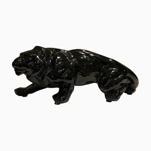 Black Ceramic Animalier Lion Sculpture, 1950s