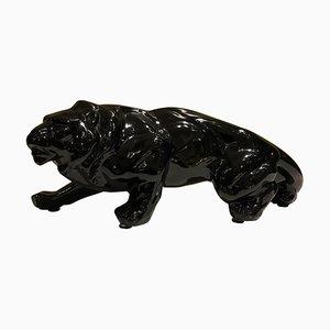Schwarze Animalier Löwenfigur aus Keramik, 1950er