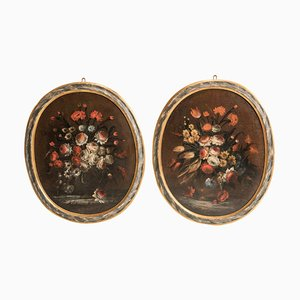 Late 17th Century Italian Oval Lacquered Frames Flowers Still Life Paintings, Set of 2