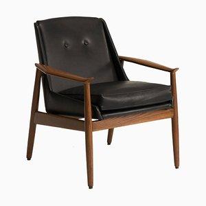 Italienischer Armlehnstuhl aus Schwarzem Leder Nussholz von Pizzetti, 1950er