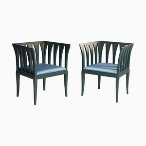 Art Deco Style Blue Chairs by Eliel Saarinen for Adelta, Finland, 1980s, Set of 2