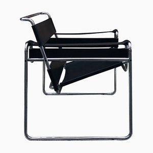 Black Leather and Steel Structure Wassily Armchair by Marcel Breuer, 1980s