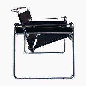 Fauteuil Wassily en Cuir Noir et Structure en Acier par Marcel Breuer, 1980s