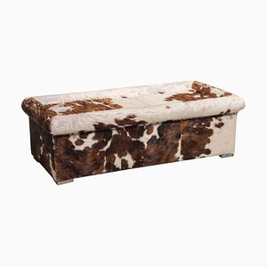 Brown and White Cow Fur Leather Ottoman or Coffee Table from Baxter, Italy, 1990s
