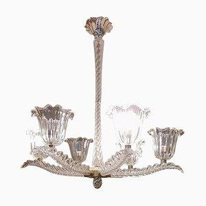 Italian Art Deco Murano Glass and Brass Chandelier, 1930s