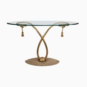 Mid-Century Golden Iron Structure and Oval Glass Top Console Table, 1950s