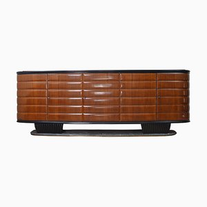 Mid-Century Italian Wood and Green Marble Credenza by Vittorio Dassi for Mobili Moderni, 1950s