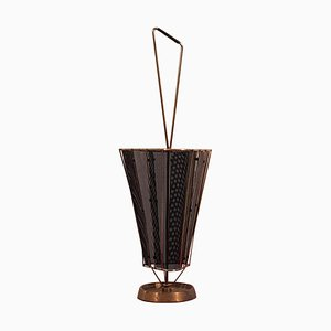 Vintage Italian Brass Profiles and Black Metal net Umbrella Stand, 1950s
