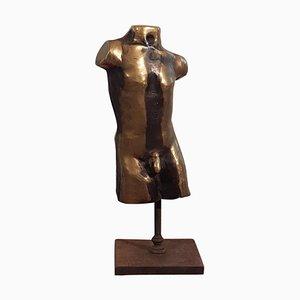 Sculpture Homme Nu en Bronze Doré sur une Base en Fonte, Italie, 1950s