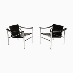 Numbered Steel and Black Leather LC1 Chairs by Le Corbusier for Cassina, 1970s, Set of 2