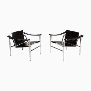 Sedie LC1 in acciaio e pelle nera numerate di Le Corbusier per Cassina, anni '70, set di 2