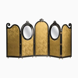Liberty Black Wood & Green Palm Fabric 5-Panel and Oval Mirrors Screen