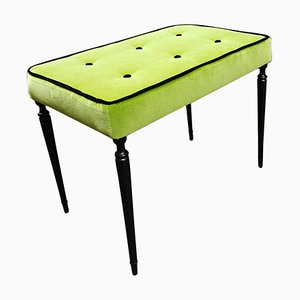 Mid-Century Italian Bright Acid Green Velvet and Black Lacquered Legs Bench, 1950s