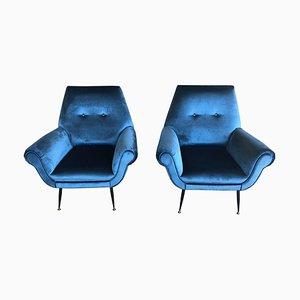Mid-Century Armlehnstühle mit elektrischem Gestell aus blauem Samt & Messing von Gigi Radice, 1950er, 2er Set