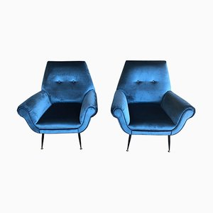 Mid-Century Electric Blue Velvet & Brass Ending Legs Armchairs by Gigi Radice, 1950s, Set of 2