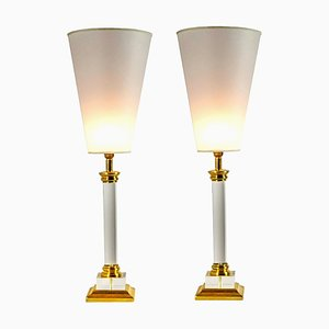 Transparent Plexiglass Golden Brass Table Lamps, Italy, 1970s, Set of 2